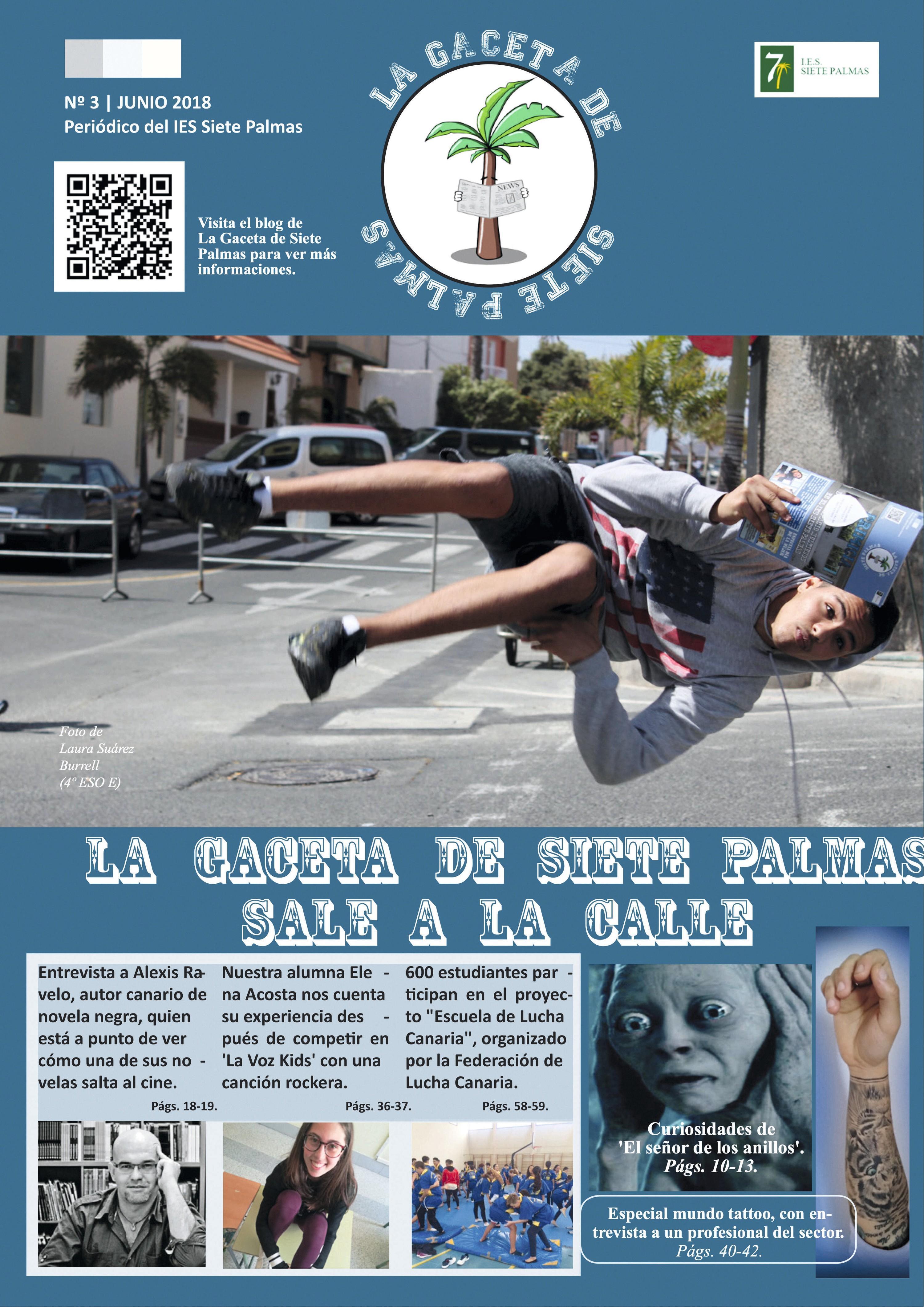 Portada del periódico del IES Siete Palmas, Islas Canarias, 2018.