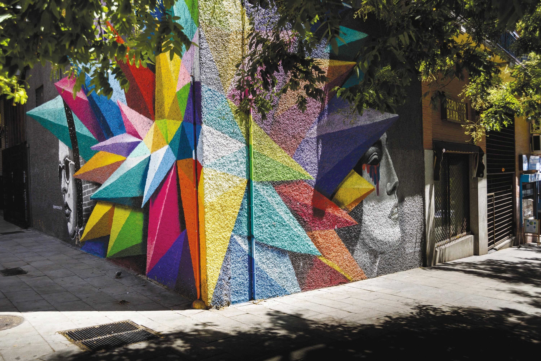 Grafiti de Okuda en las calles de Madrid