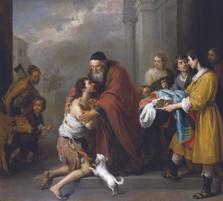 Bartolomé Esteban Murillo, El retorno del hijo pródigo, óleo sobre lienzo, 1670.