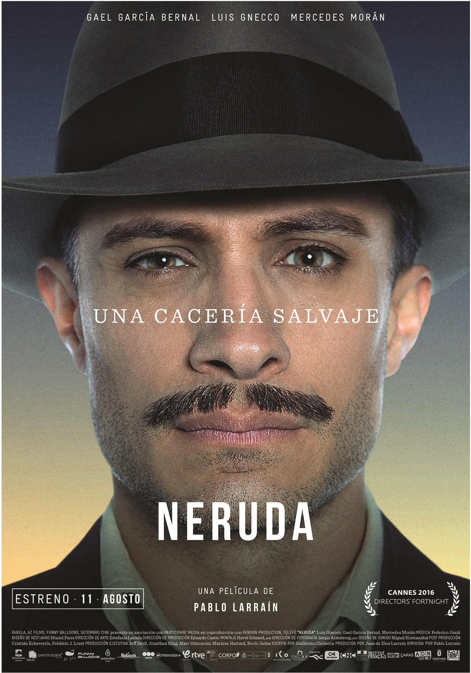 Primer cartel de la película Neruda de Pablo Larraín, 2016.