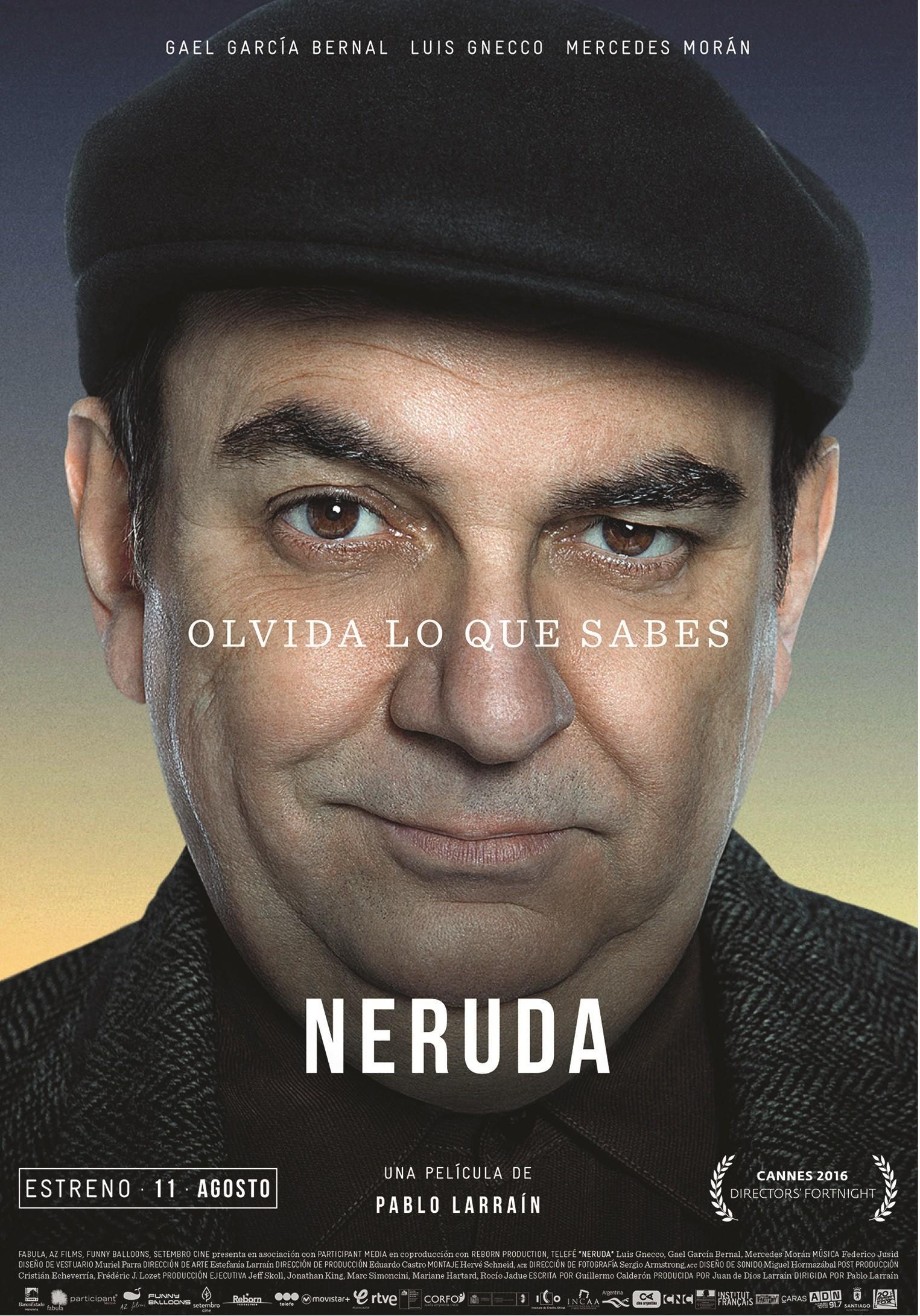 Segundo cartel de la película Neruda de Pablo Larraín, 2016.