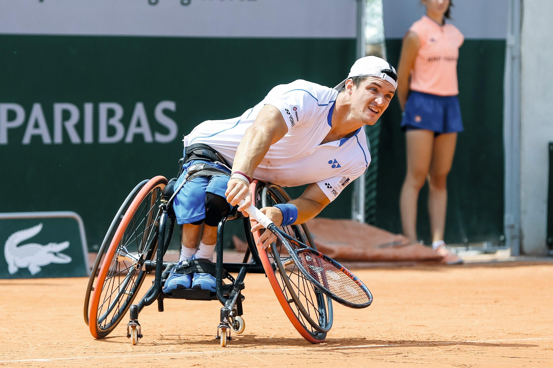 El argentino Gustavo Fernández, en pleno partido del torneo de Roland Garros, 2018.