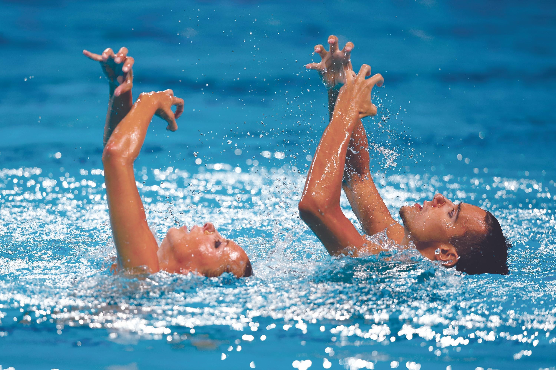 Gemma Mengual y Pau Ribes, Final del Campeonato mundial de natación sincronizada, Rusia, julio de 2015.