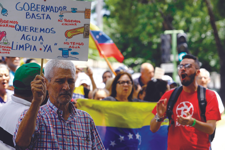 Manifestación por el agua en Venezuela, 2018.