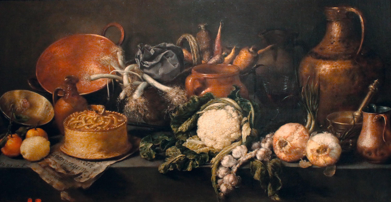 Antonio de Pereda y Salgado, Naturaleza muerta con vegetales y enseres de cocina, 1651.