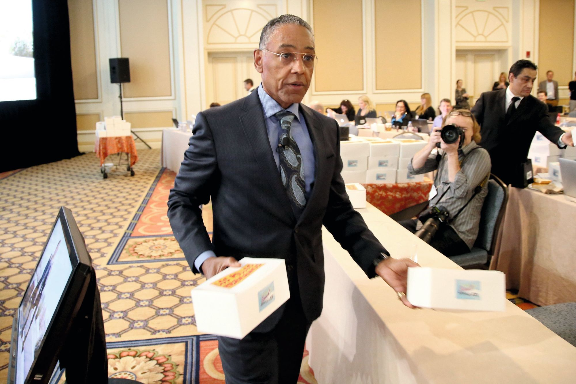 Giancarlo Esposito promoting his show restaurant, 2017
