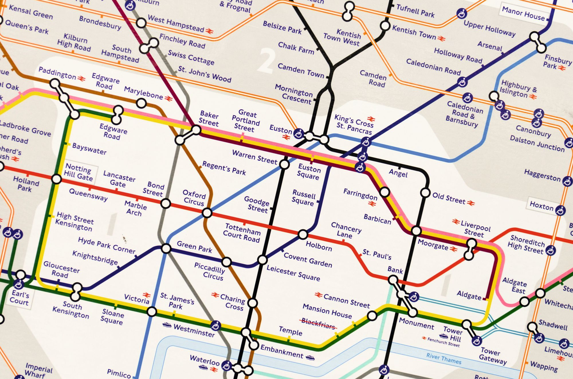 Close-up of the London Underground map, 2019.