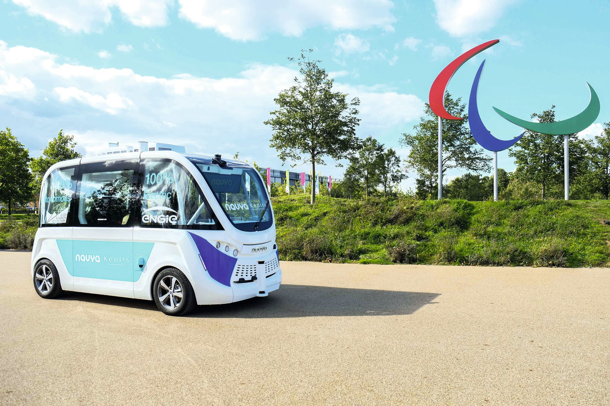 Driverless bus in the Olympic Park, London, 2017.