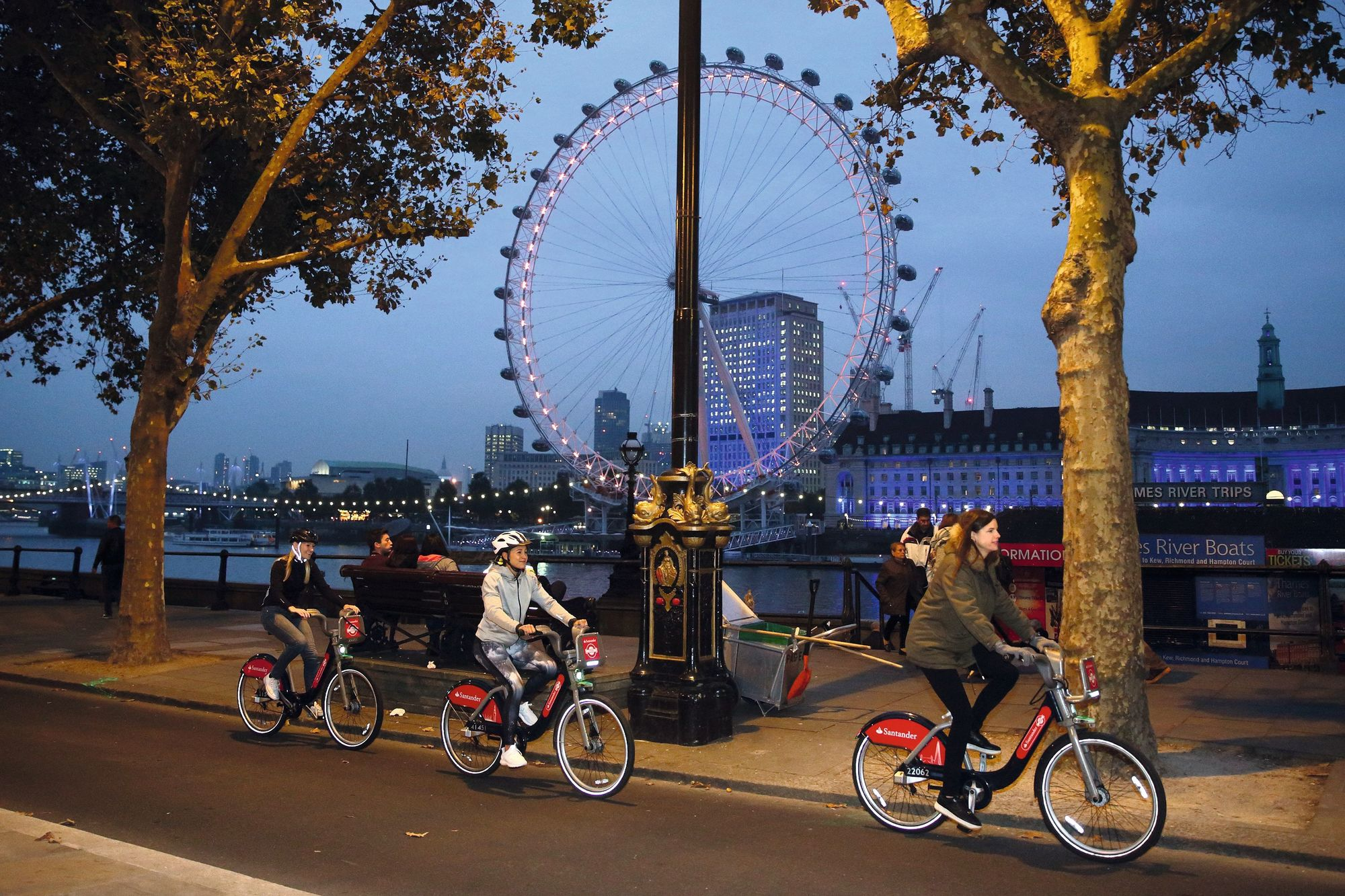Cyclists on the cycle superhighway near the London Eye, 2016.