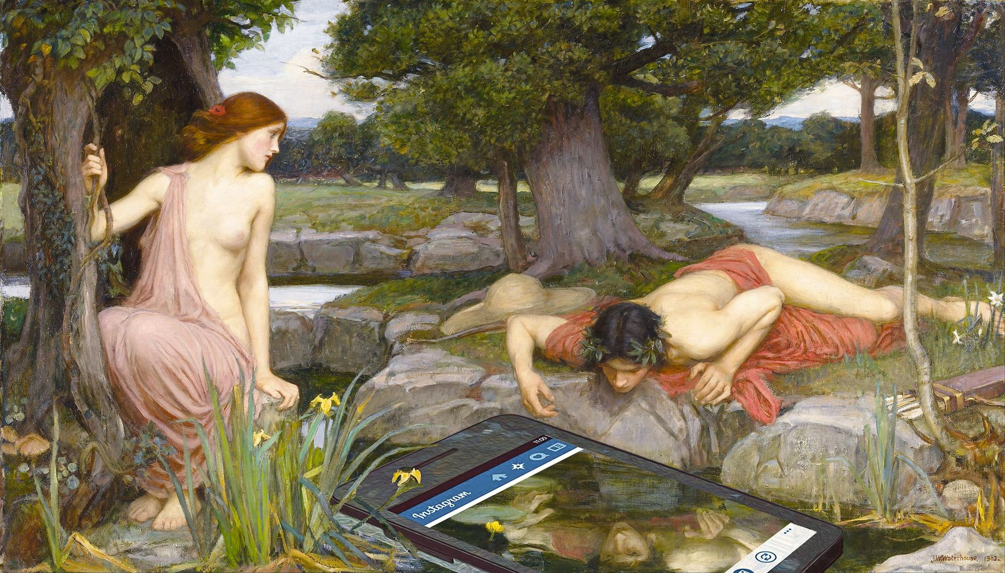 Echo and Narcissus, by John William Waterhouse, 1903, adapted by Dan Cretu, 2015.