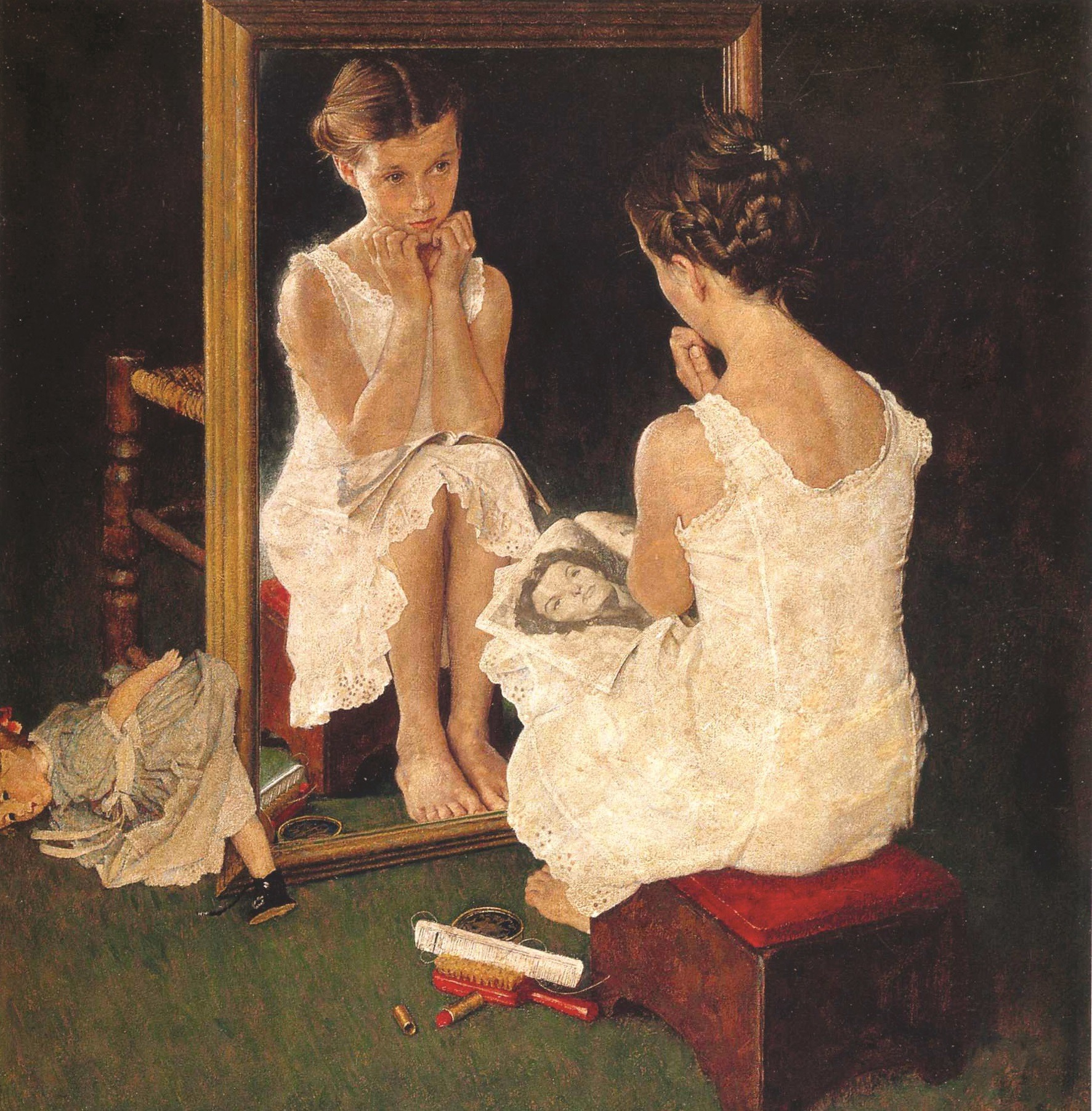 Girl at a Mirror, Norman Rockwell, 1954.