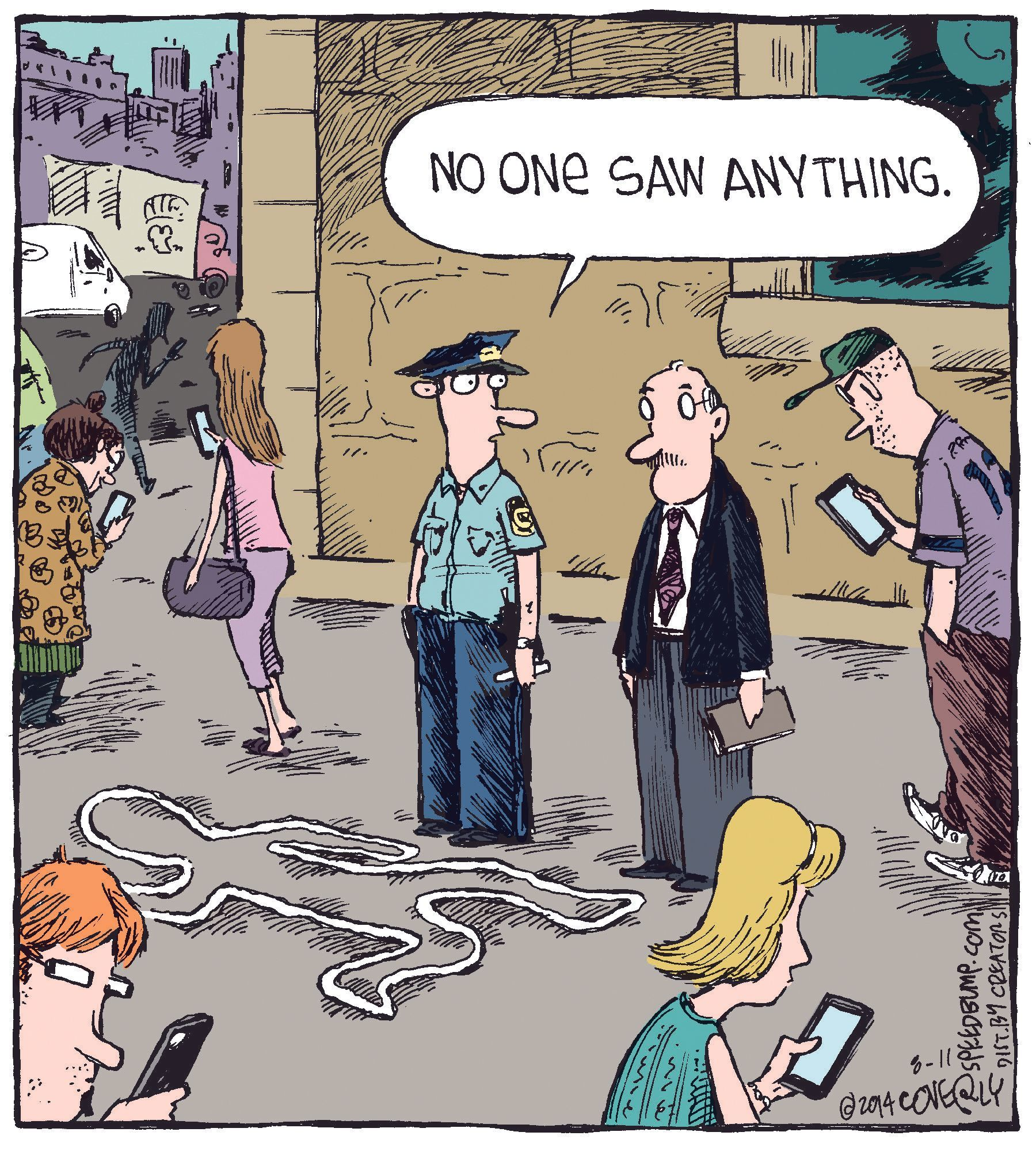 A crime scene, Dave Coverly