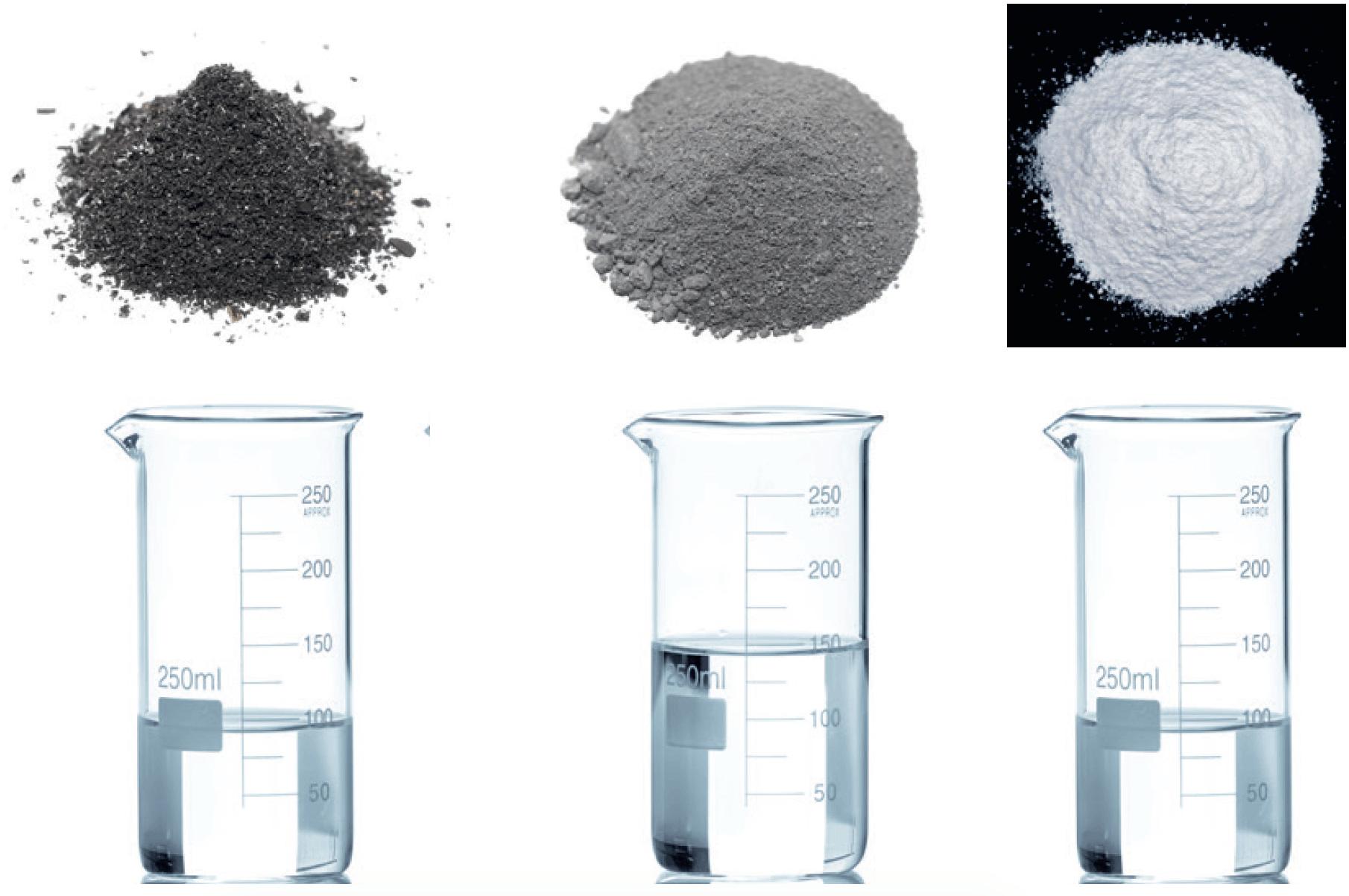 Échantillons solides (métaux) et flacons de liquide, sans étiquettes