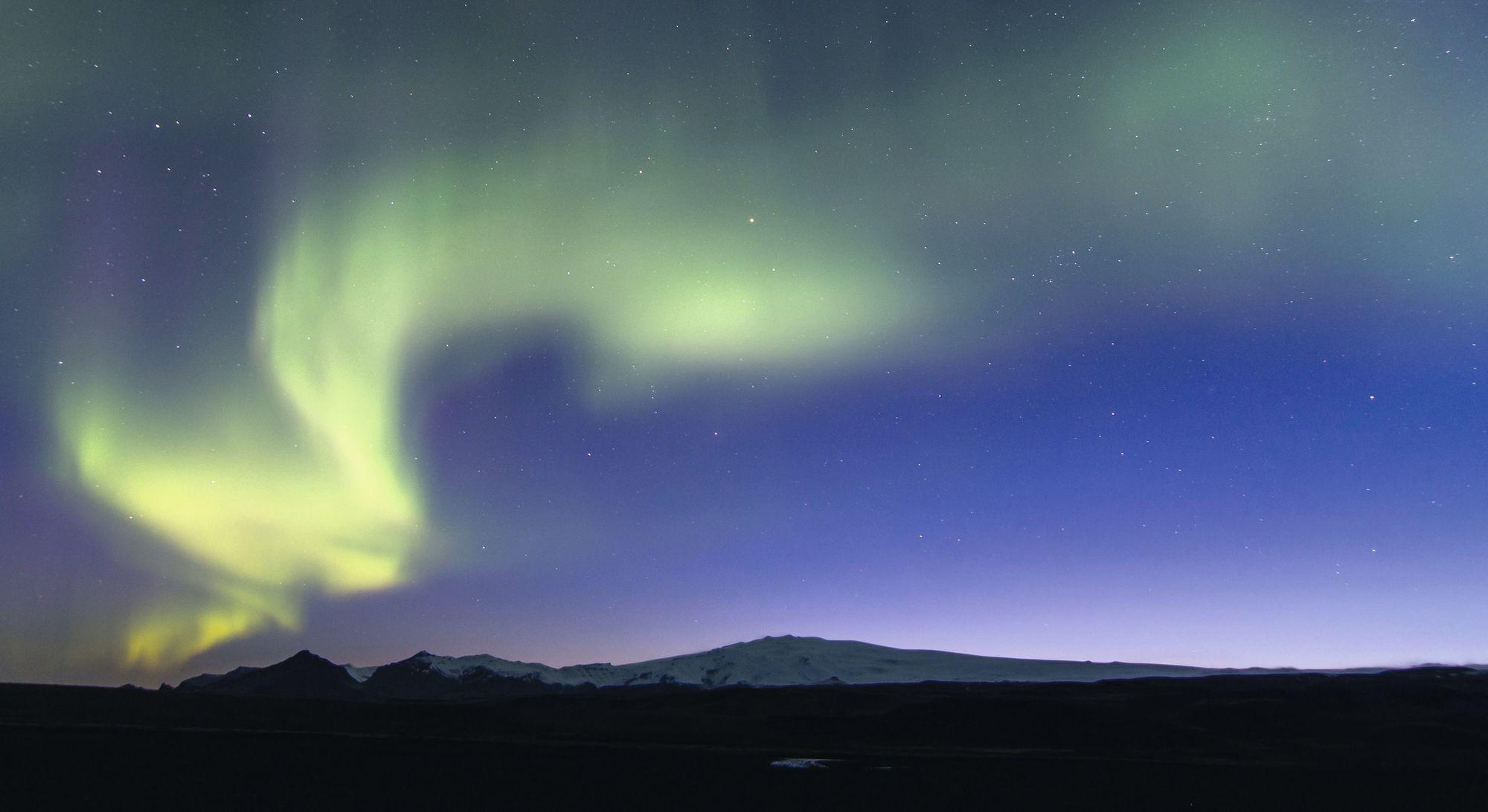 Aurore boréale en Islande.