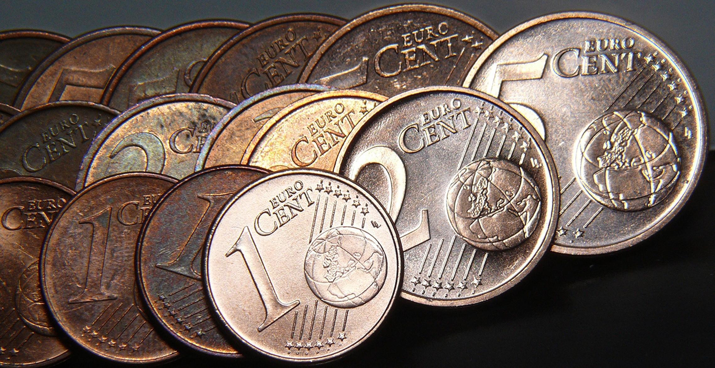 Pièces de 1, 2 et 5 centimes d'euro