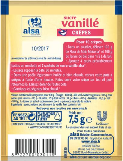 Etiquette de sucre vanillé