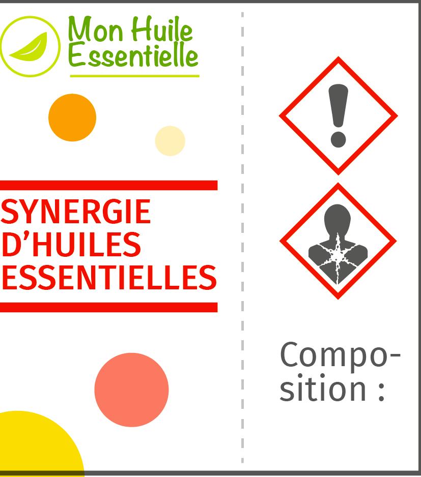 Étiquette d'une huile essentielle
