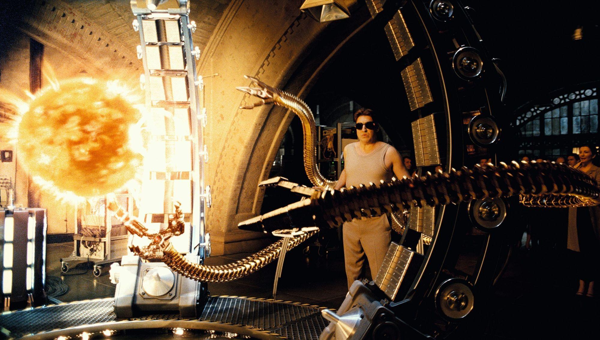 Dans le film Spiderman 2, de Sam Raimi, le Docteur Octavius crée une étoile en laboratoire pour disposer d'une source d'énergie quasi inépuisable.