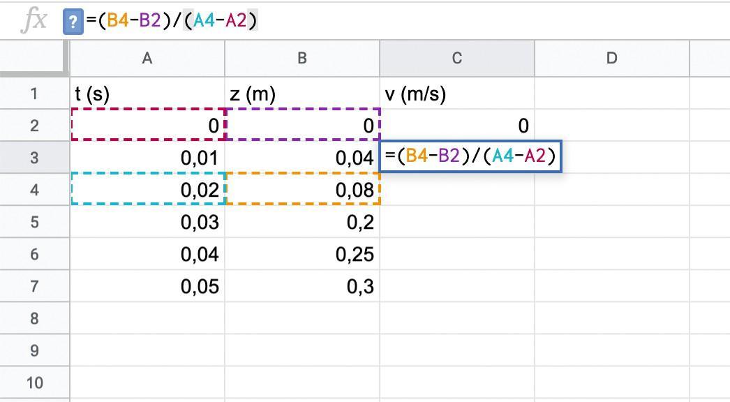 Calcul vitesse tableur