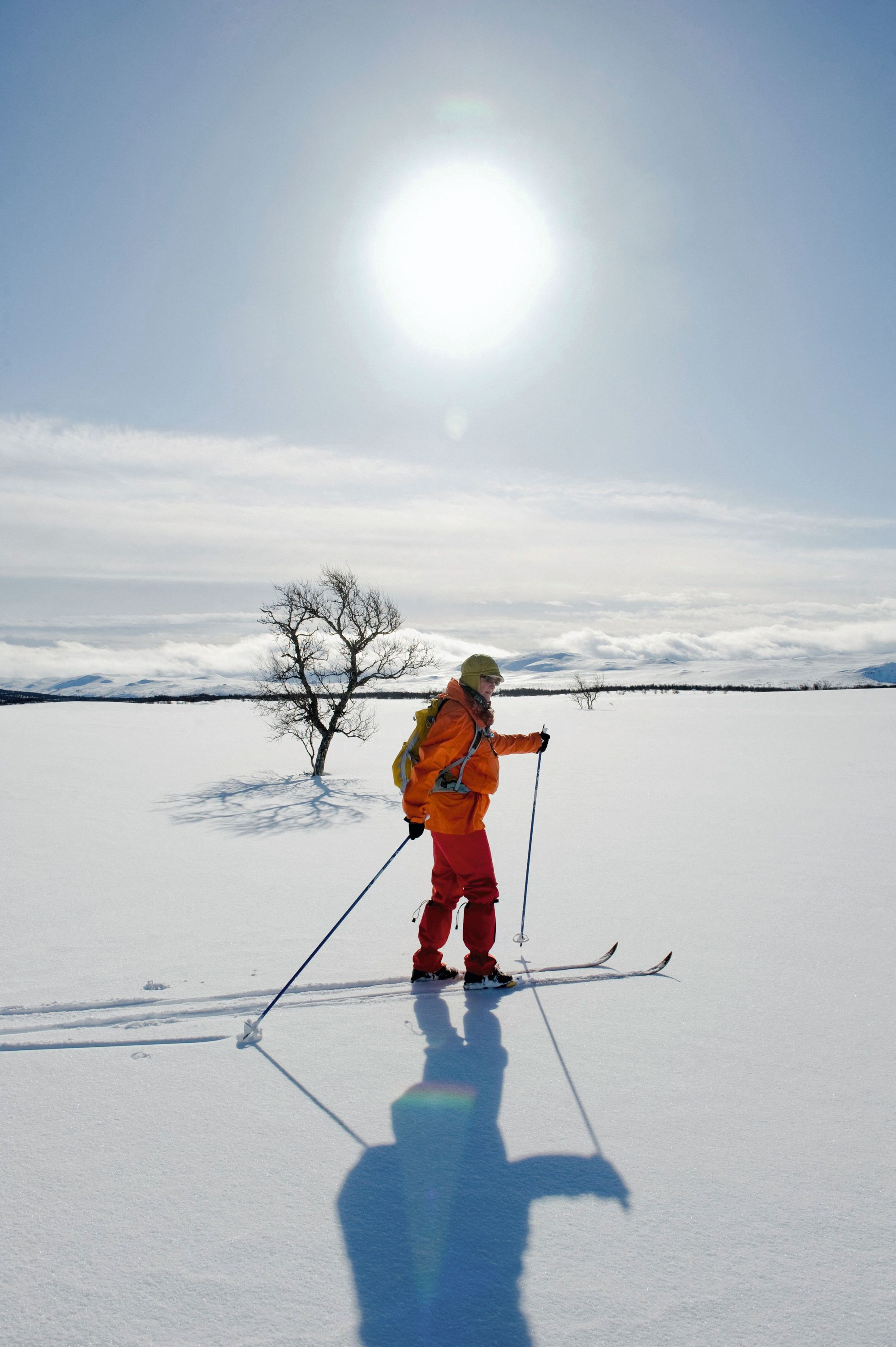 Trajectoire rectiligne d'un skieur