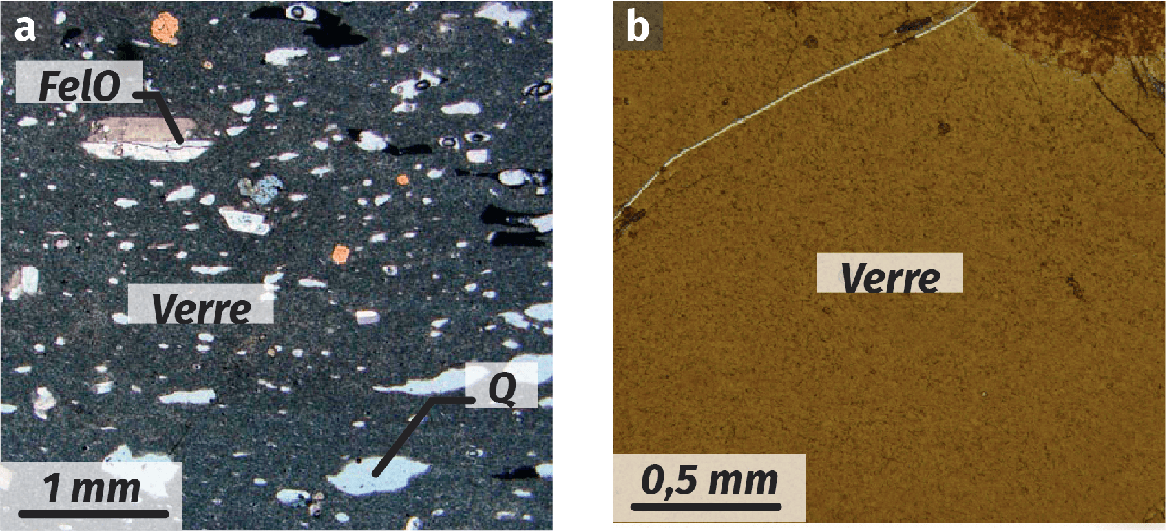 Rhyolite et obsidienne
