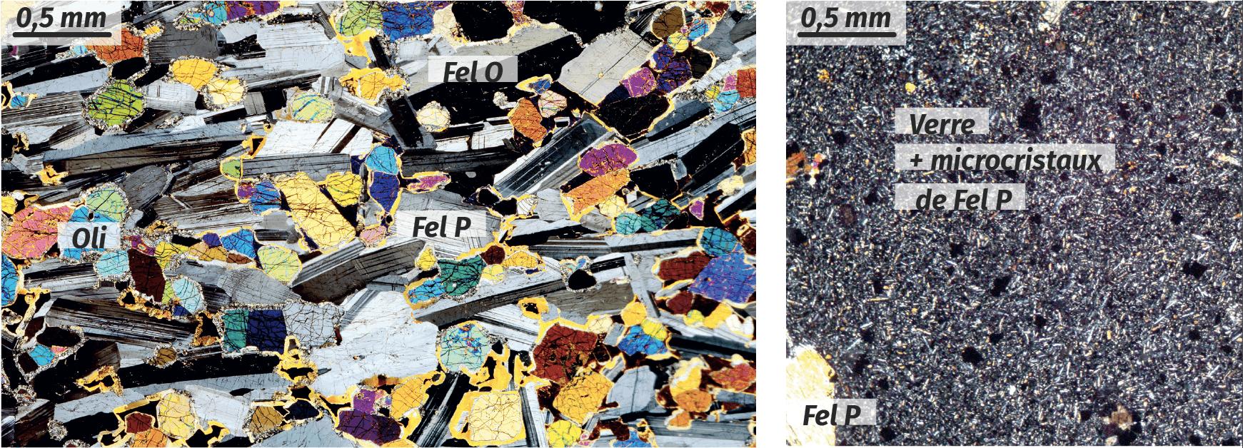 Photographies de gabbro et de basalte
