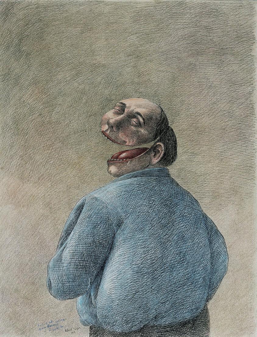 2 Roland Topor, À gorge déployée, 1975. encre de Chine et crayon de couleurs, collection Stedelijk Museum Amsterdam, Pays-Bas.