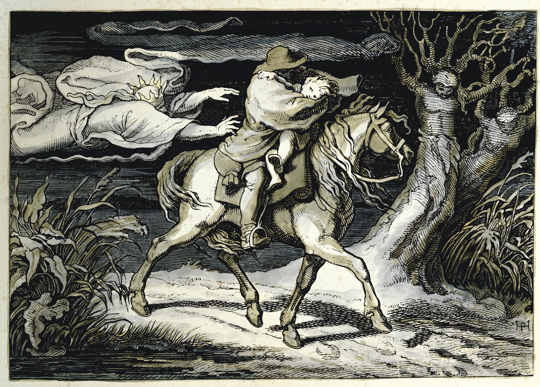 Hermann Freihold Plueddemann, Le Roi des Aulnes, 1852, gravure sur bois colorisée, coll. privée.