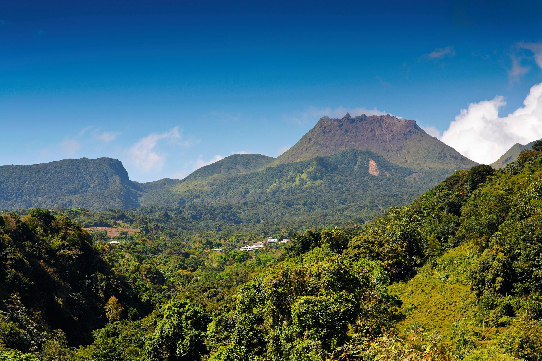Un volcan entouré d'une forêt tropicale