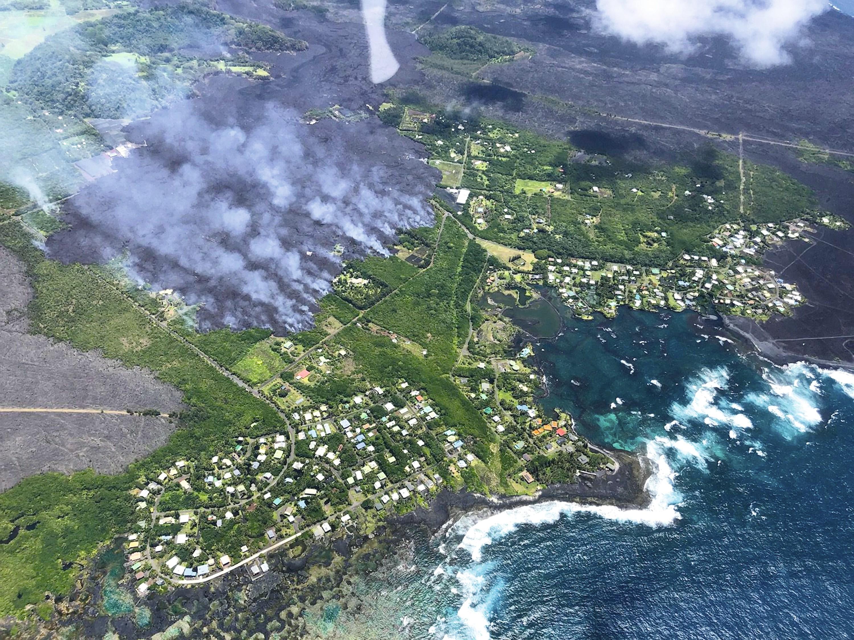 Habitations face aux coulées de lave (Hawaï)