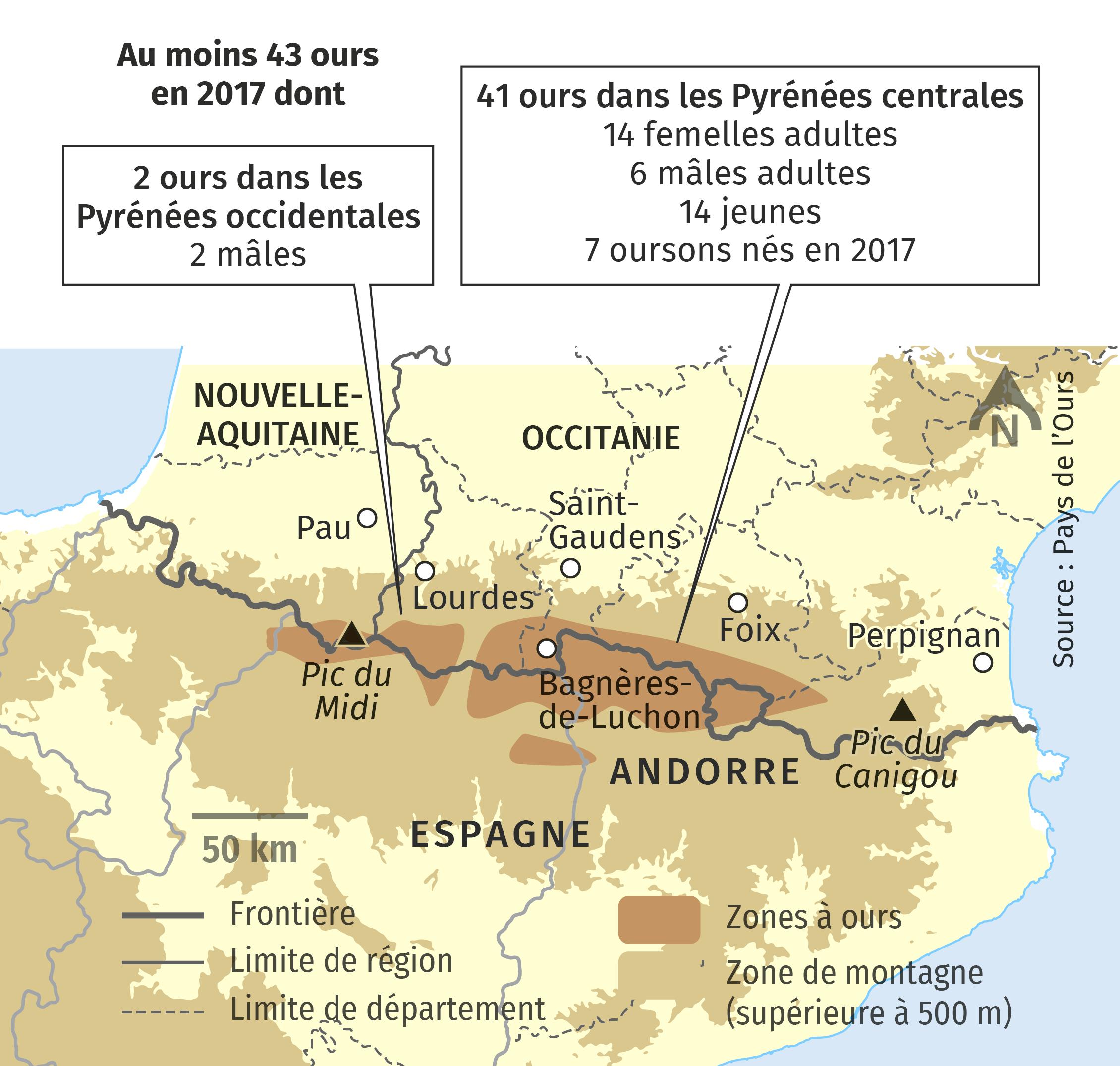 La répartition des ours dans les Pyrénées