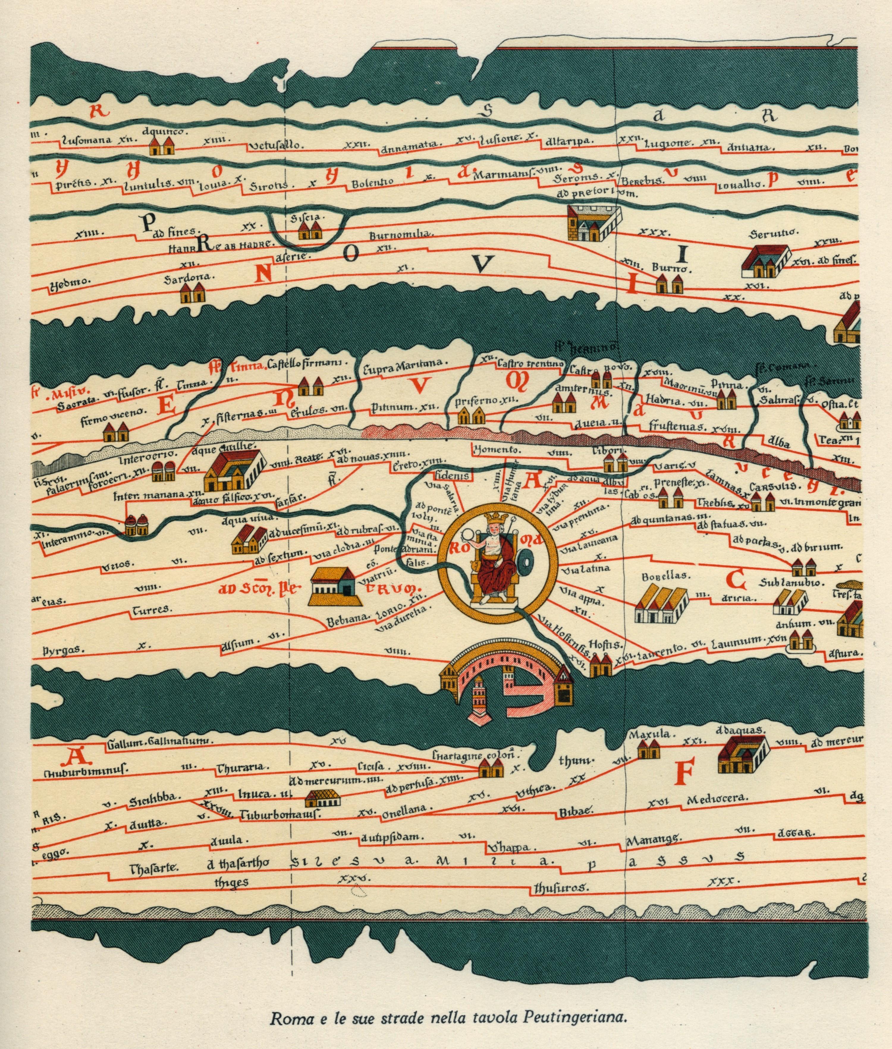 Table de Peutinger, détail d'une carte antique, copie médiévale, XIIIe siècle