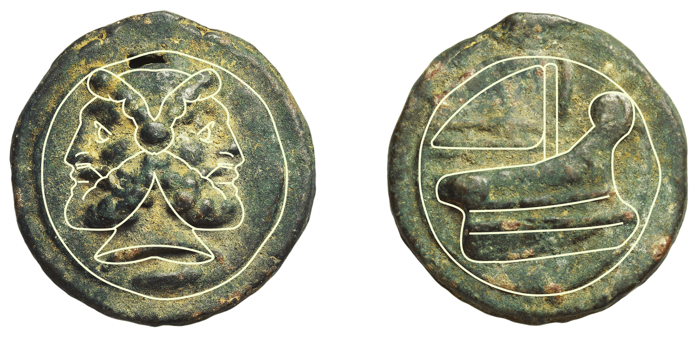 Monnaie romaine en bronze, v. 240‑225 av. J.‑C.