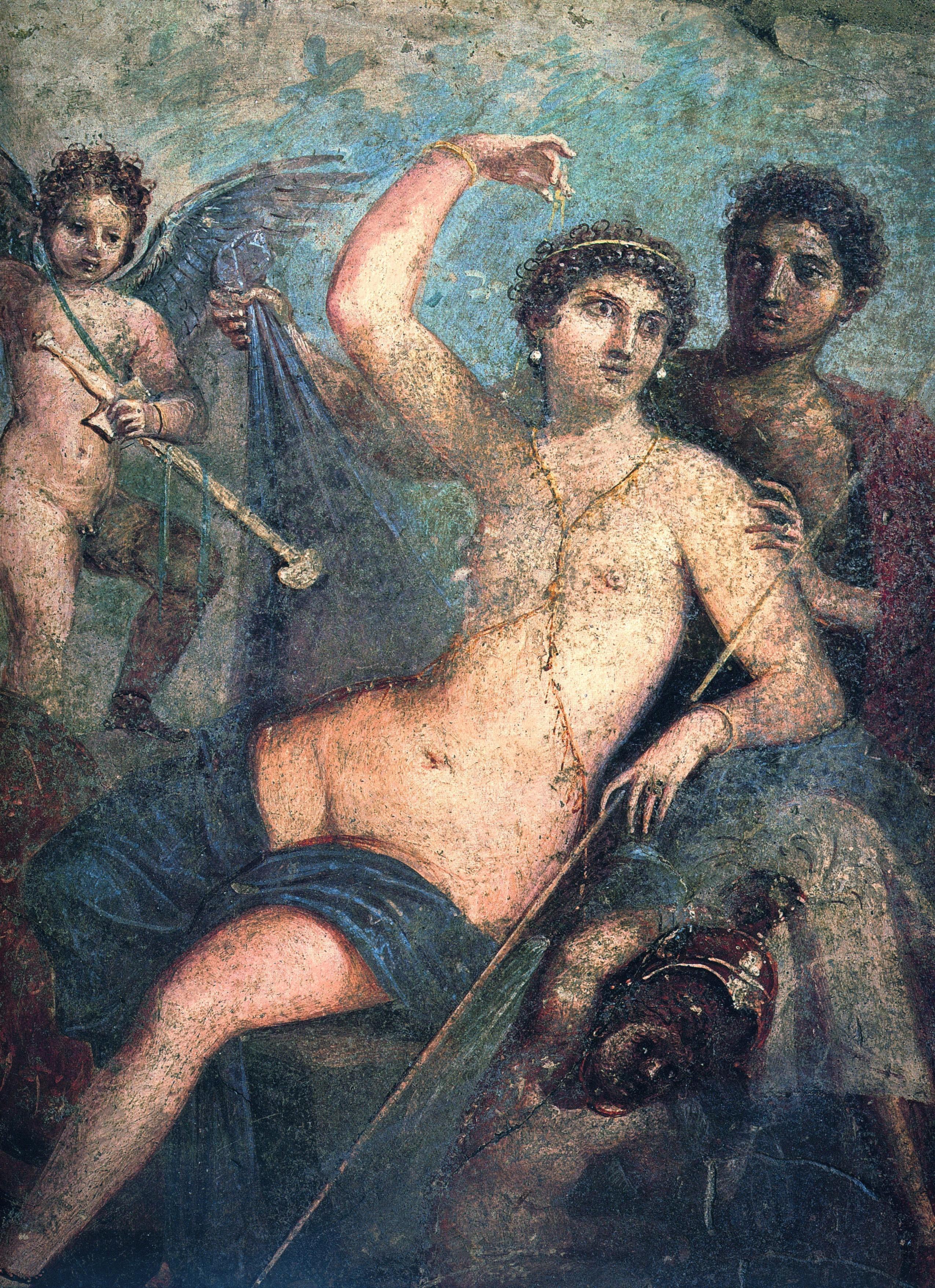 Vénus : déesse de l'amour à gauche, Mars : dieu de la guerre à droite