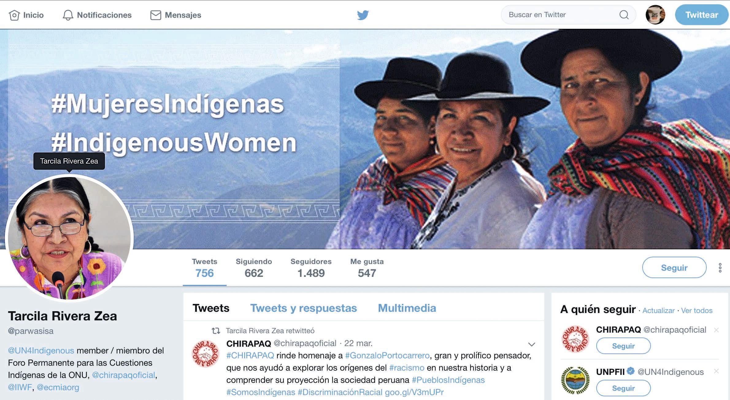 #Mujeresindígenas, página de Twitter de Tarcila Rivera Zea, 2019.