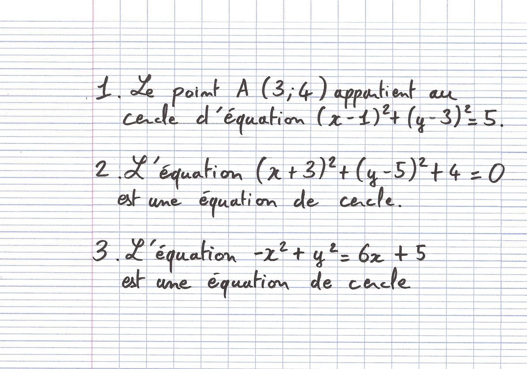 Équation de cercle