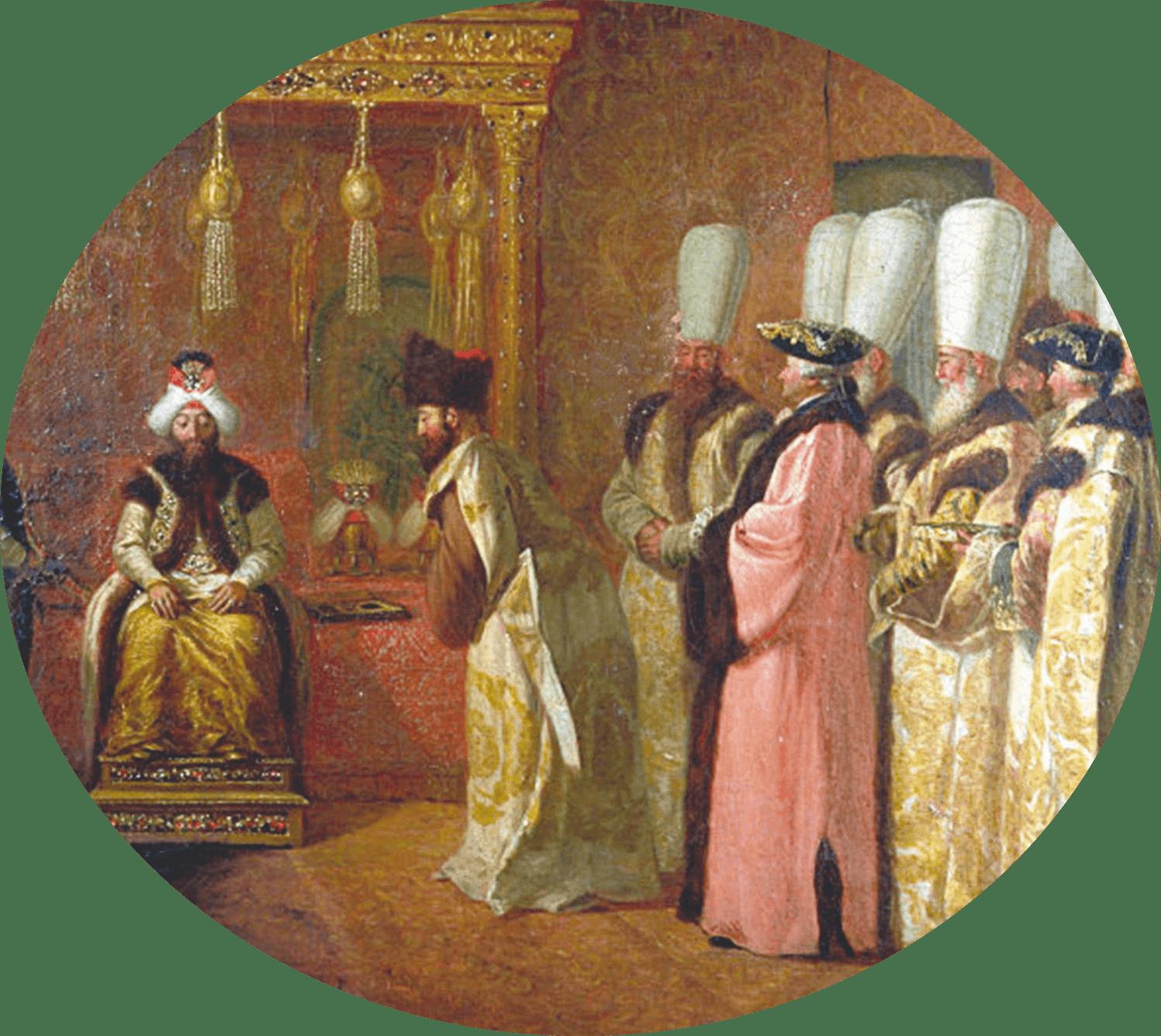 Tableau représentant une ambassade vénitienne envoyée auprès du sultan ottoman, vers 1500