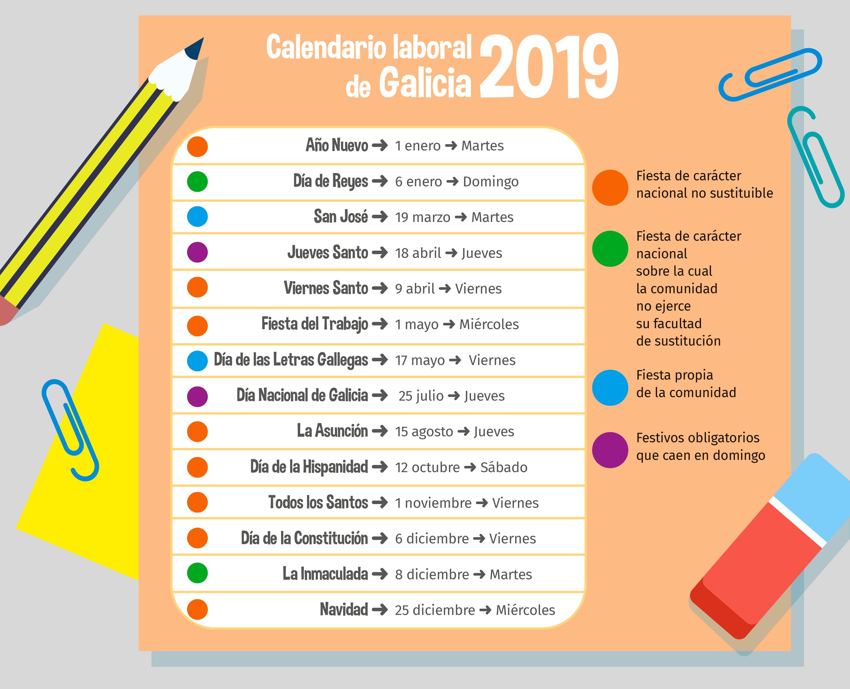Calendario laboral 2019 en Galicia, 2018.