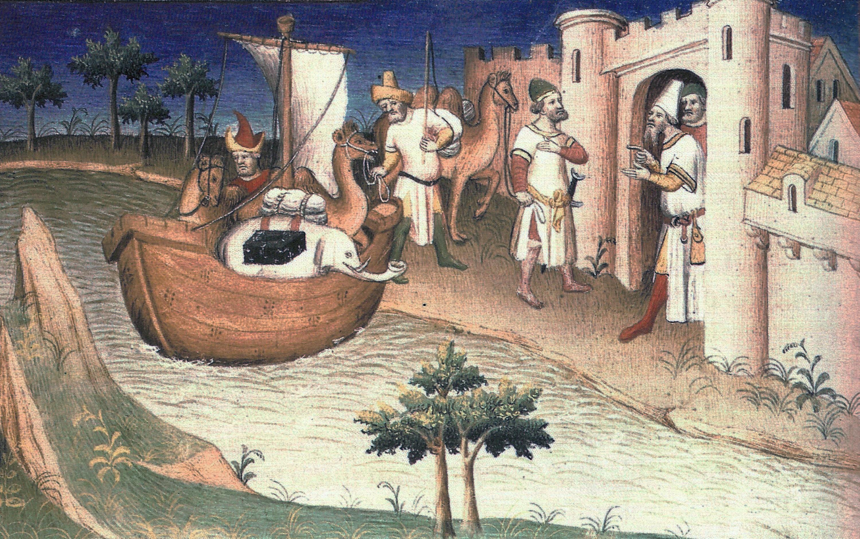 Arrivée à Ormuz, enluminure dans un manuscrit du Devisement du monde de Marco Polo, 1412