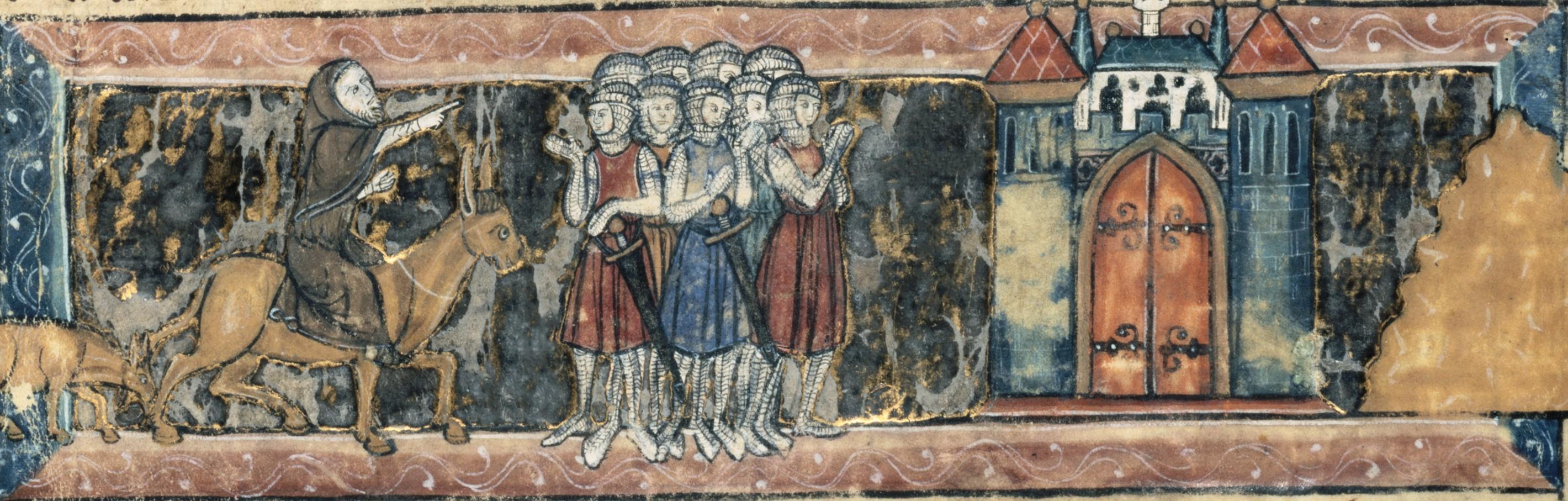 Pierre l'Ermite prêche la croisade, enluminure dans un manuscrit du Roman du Chevalier au Cygne, fin du XIIIe siècle