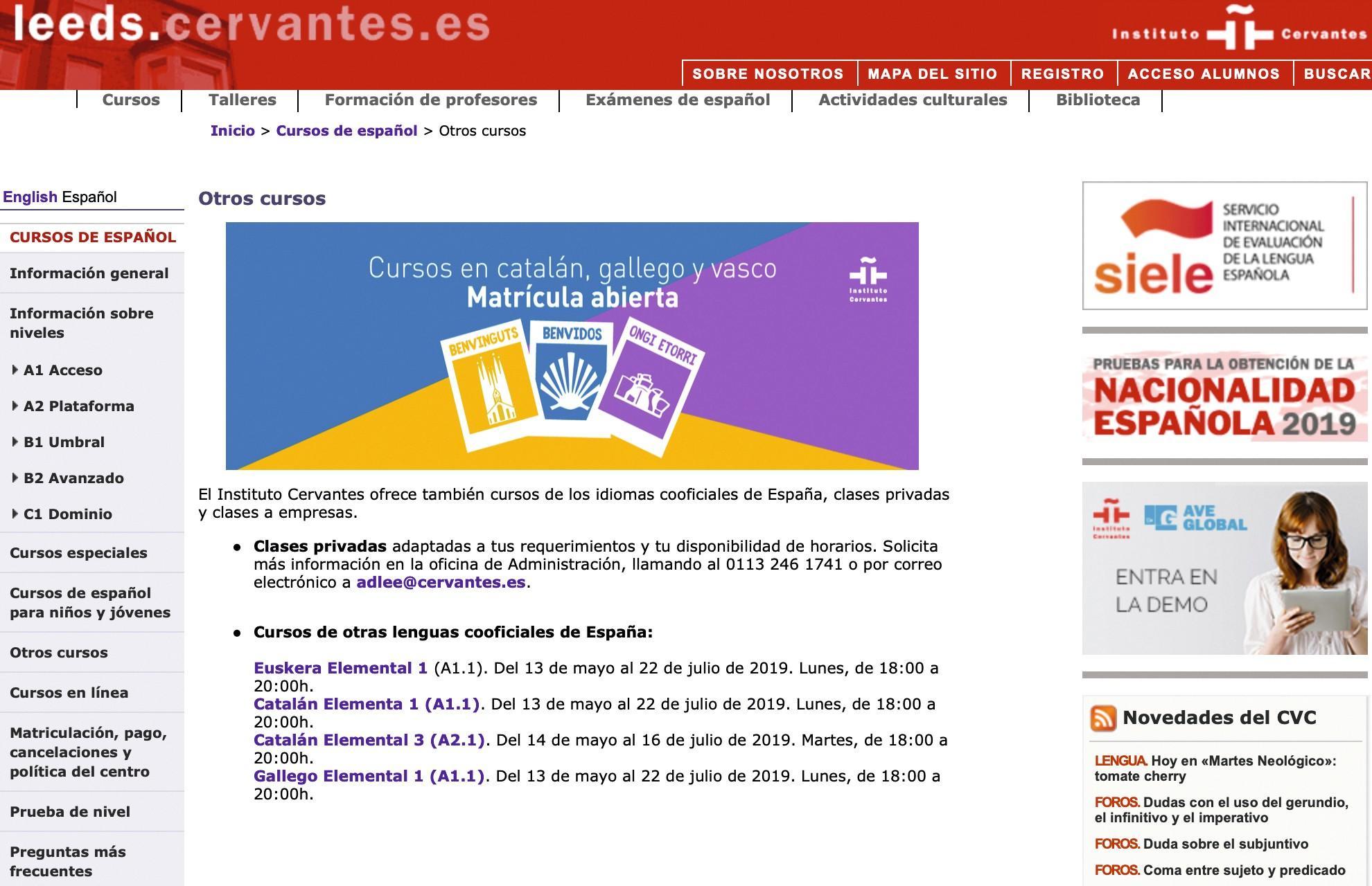 Página web del Instituto Cervantes de Leeds, 2019.