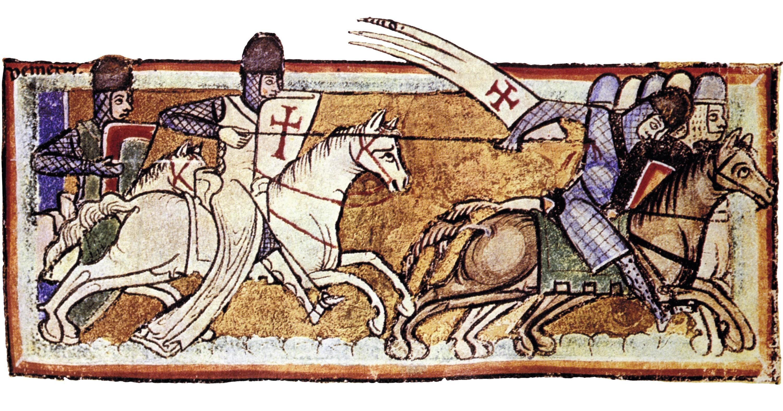 Carte de Jérusalem, enluminure (détail), dans une Bible illustrée, v. 1190, Koninklijke Bibliotheek, La Haye