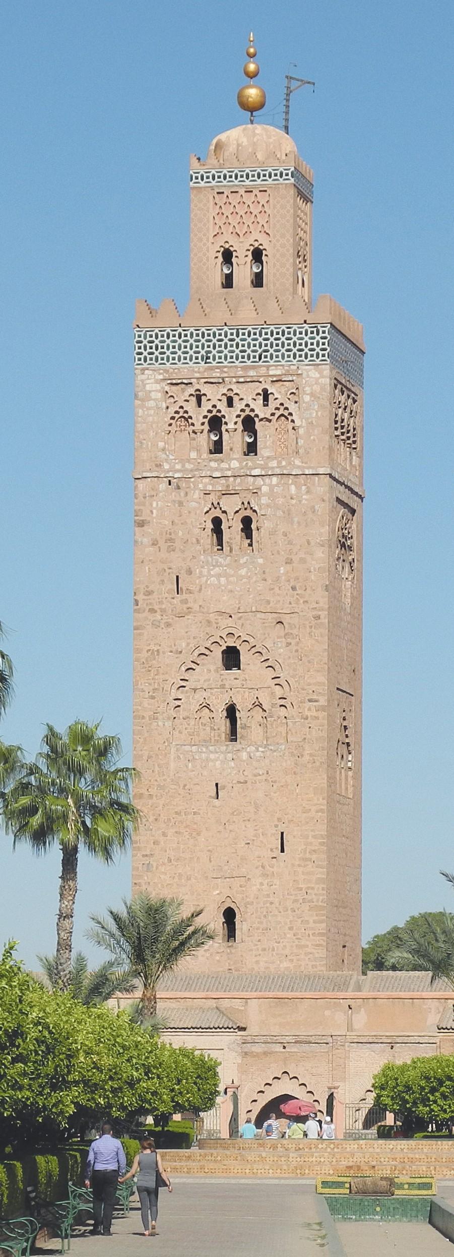 Minaret musulman de 1196, Koutoubia, Maroc (à gauche) et clocher chrétien de 1315, Teruel, Espagne (à droite)