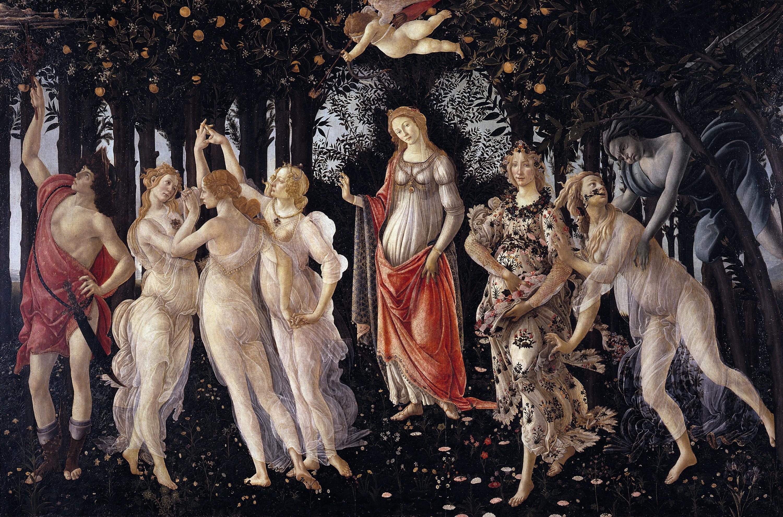 Sandro Botticelli, Le Printemps, v. 1478‑1482, peinture sur panneau de bois, 203 x 314 cm, Galerie des Offices, Florence
