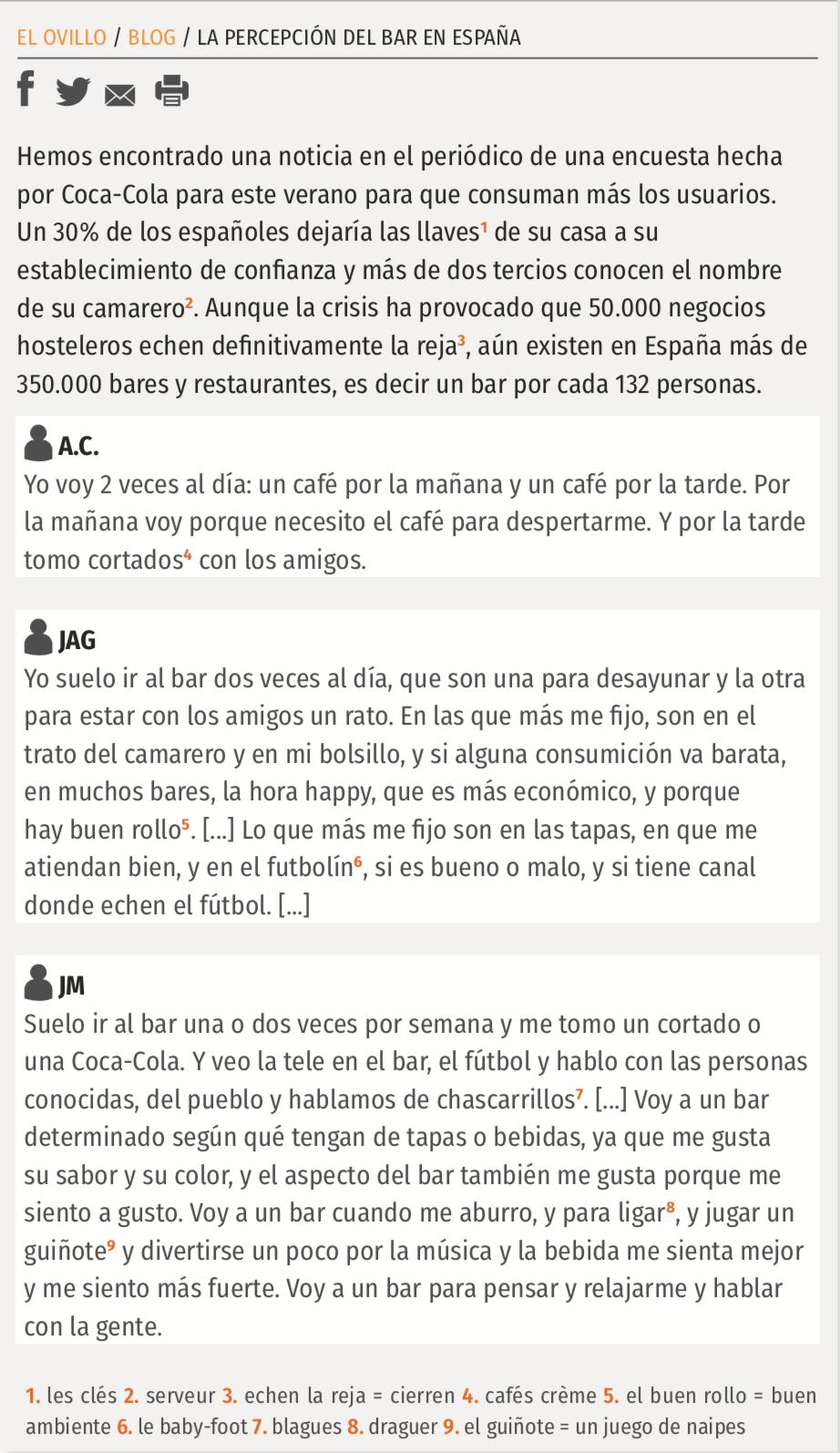 La percepción del bar en España