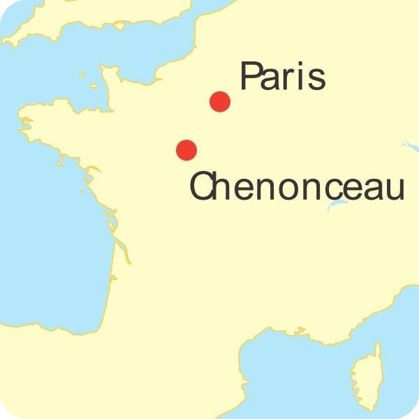 Chenonceau, le « château des Dames », carte