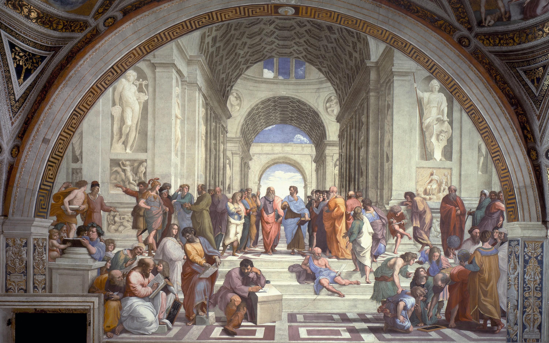 Raphaël, L'École d'Athènes, 1510, fresque, 440 x 770 cm, musées du Vatican