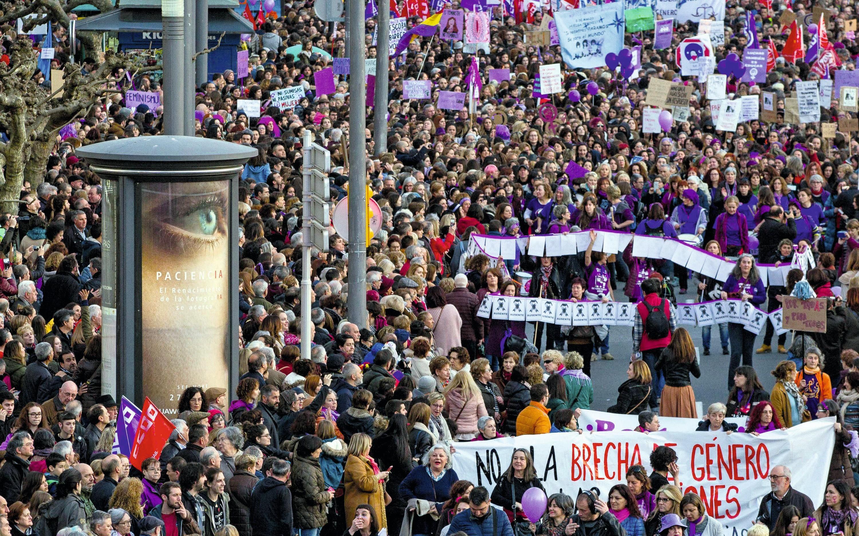 Protesta en ocasión del Día Internacional de la Mujer, Gijón, 08/03/2018.