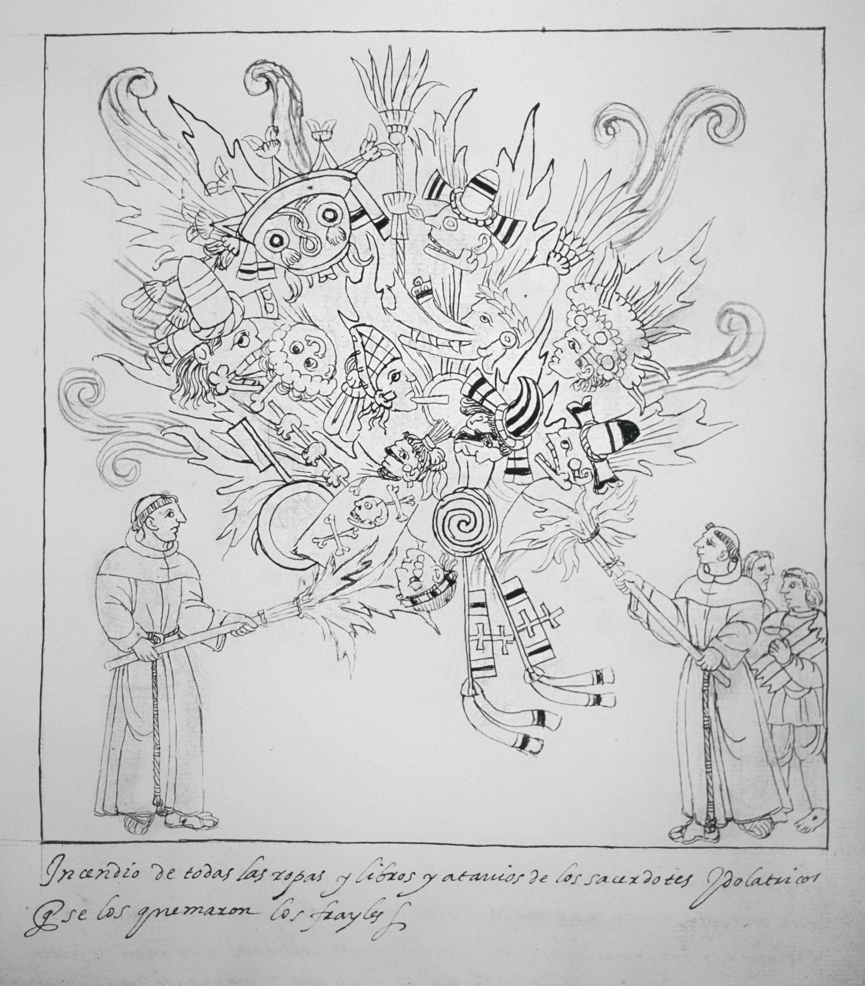 Franciscains brûlant des objets indiens, Historia de Tlaxcala, 1585, dessin