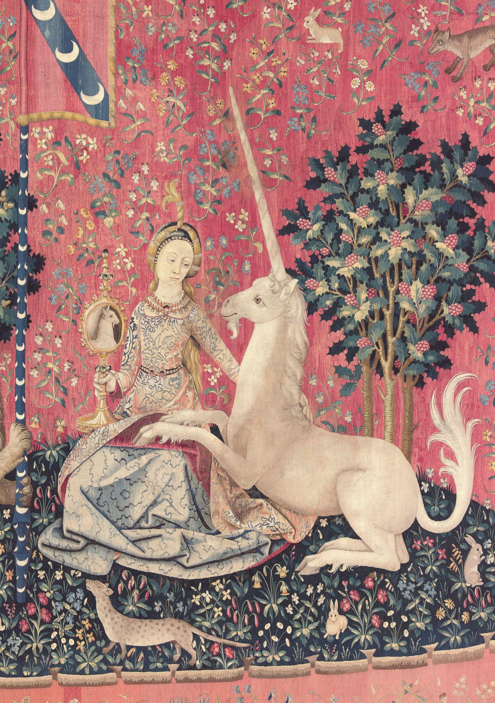 Teinture de la Dame à la licorne : la Vue, vers 1500, tapisserie